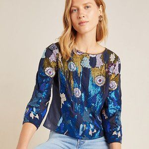 Anthropologie Geisha Designs Sequined Blouse (NWT)